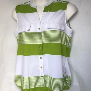 Kim Rogers striped sleeveless button down blouse L